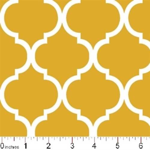 Quatrefoil Lattice Pattern White On Mustard Yellow Cotton Fabric