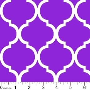 Picture of Quatrefoil Lattice Pattern White on Purple Cotton Fabric