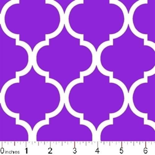 Quatrefoil Lattice Pattern White On Purple Cotton Fabric