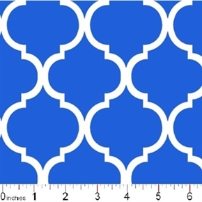 Quatrefoil Lattice Pattern White On Royal Blue Cotton Fabric