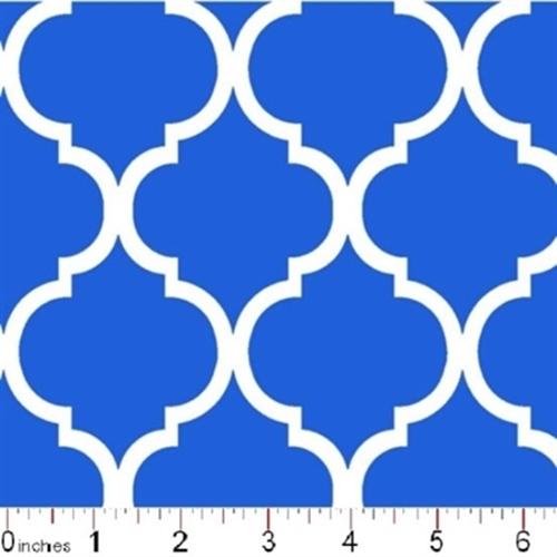 Quatrefoil Lattice Pattern White On Royal Blue Cotton Fabric