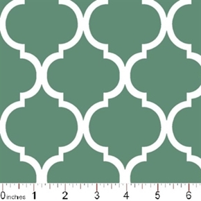 Quatrefoil Lattice Pattern White On Spa Blue Cotton Fabric