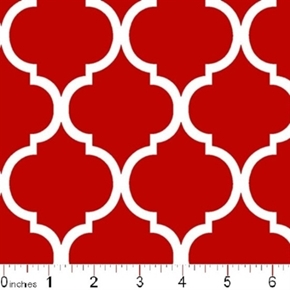 Quatrefoil Lattice Pattern White On Tomato Red Cotton Fabric
