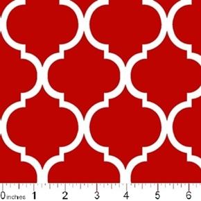 Quatrefoil Lattice Pattern White On Tomato Red Cotton Fabric