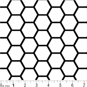 Picture of Honeycomb Pattern Black on White Cotton Fabric