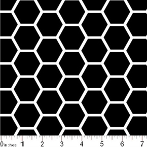 Honeycomb Pattern White On Black Cotton Fabric