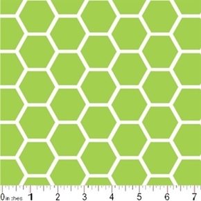 Honeycomb Pattern White On Citrus Green Cotton Fabric