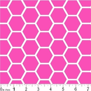 Honeycomb Pattern White On Flamingo Pink Cotton Fabric