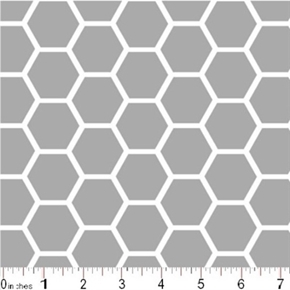 Picture of Honeycomb Pattern White on Gray Cotton Fabric