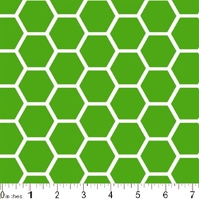Honeycomb Pattern White On Kelly Green Cotton Fabric