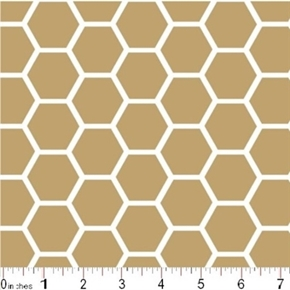 Honeycomb Pattern White On Khaki Brown Cotton Fabric