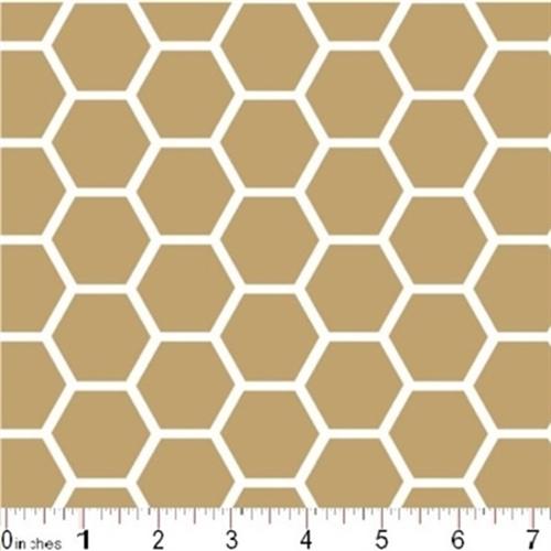 Honeycomb Pattern White On Khaki Brown Cotton Fabric