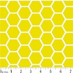 Honeycomb Pattern White On Lemon Yellow Cotton Fabric