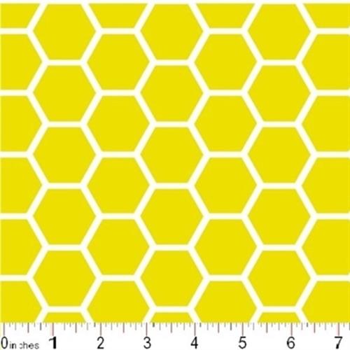 Cotton Fabric - Pattern Fabric - Honeycomb Pattern White on Lemon ...