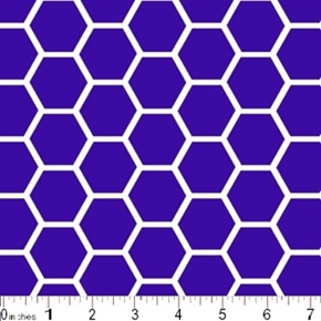 Picture of Honeycomb Pattern White on Purple Cotton Fabric