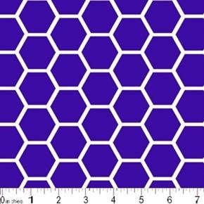 Honeycomb Pattern White On Purple Cotton Fabric