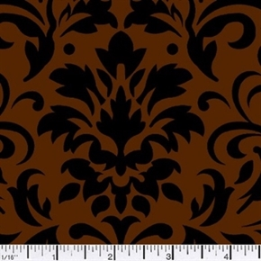Picture of Damask Delight Black on Chocolate Cotton Fabric