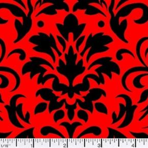 Picture of Damask Delight Black on Red Cotton Fabric