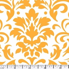 Damask Delight Gold On White Cotton Fabric