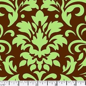 Damask Delight Green On Chocolate Cotton Fabric