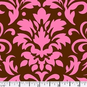Picture of Damask Delight Pink on Chocolate Cotton Fabric