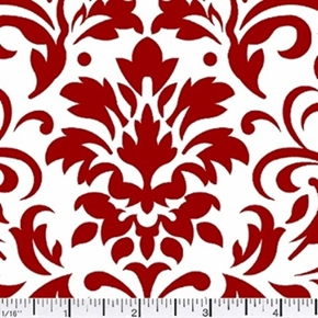 Damask Delight Red On White Cotton Fabric