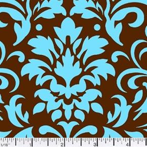 Picture of Damask Delight Turquoise on Chocolate Cotton Fabric