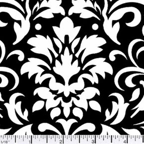 Damask Delight White On Black Cotton Fabric