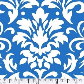 Damask Delight White On Blue Cotton Fabric
