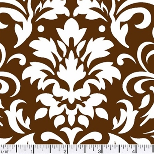 Damask Delight White On Chocolate Cotton Fabric