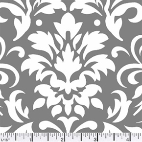 Damask Delight White On Gray Cotton Fabric