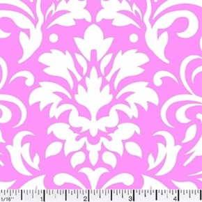 Damask Delight White On Pink Cotton Fabric