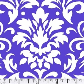 Damask Delight White On Purple Cotton Fabric