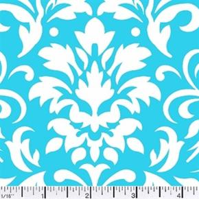 Damask Delight White On Turquoise Cotton Fabric