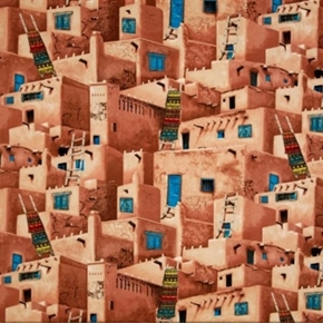 Picture of Adobe Southwest Village Indian Homes Cotton Fabric