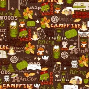 Picture of Camp-A-Lot Camping Words, Campers, Tents and Equipment Cotton Fabric