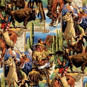 Cowboy Scenic Cowboy Horse Lasso Buffalo And Cactus Cotton Fabric