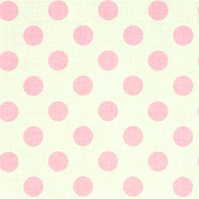 Le Creme Dots 34 Inch Pink Polka Dots On Cream Cotton Fabric
