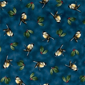 Winter Birds Hautman Brothers Chickadee Holly Dark Blue Cotton Fabric