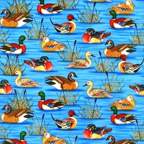 Picture of Cabin Country Mallard Ducks in the Swamp Cotton Fabric