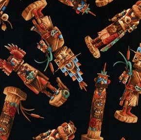Southwest Sunset Kachinas On Black Cotton Fabric