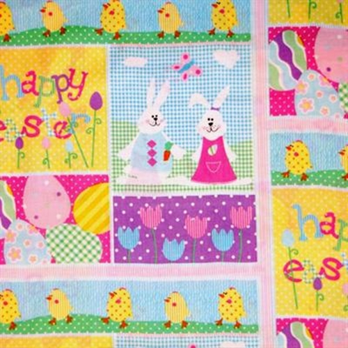 Easter Patch Bunnies Chicks And Eggs Cotton Fabric