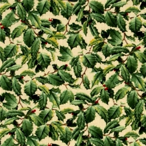 Winter Birds Hautman Brothers Holly On Cream Cotton Fabric