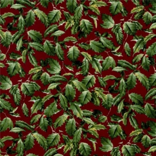 Winter Birds Hautman Brothers Holly On Garnet Red Cotton Fabric