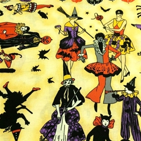 Picture of Halloween Masquerade Adult Costume Party Witches Cats Cotton Fabric