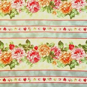 Rendezvous Vintage Roses Floral Stripe Cotton Fabric