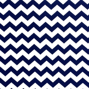 Chevrons Half Inch Dark Blue Chevron On White Cotton Fabric