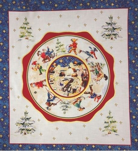 Cotton fabric holiday fabric snow play angels for Children s fabric panels