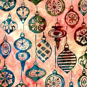 Noel Holiday Ornaments On Pink Batik Cotton Fabric