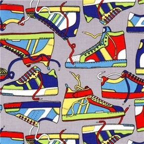 Picture of Colorful Sneakers High Tops on Grey Cotton Fabric